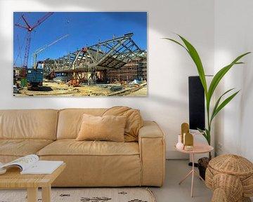 Stedelijk Museum Amsterdam in aanbouw, staalconstructie van Philip Nijman