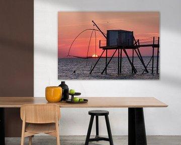 De zon gevangen in een Carrelet bij Les Moutiers-en-Retz van Dennis Wierenga