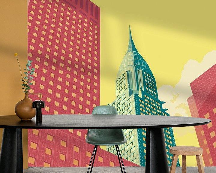 Sfeerimpressie behang: Chrysler NYC van Remko Heemskerk