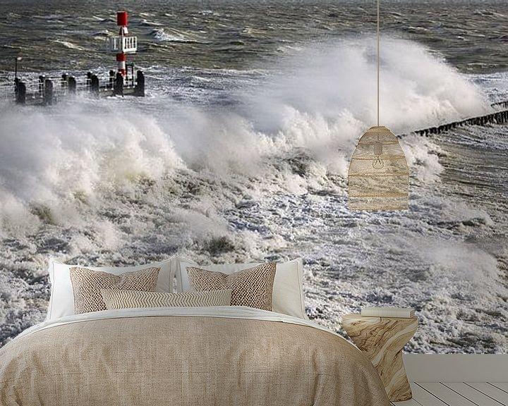 Sfeerimpressie behang: Panorama storm in Vlissingen van Anton de Zeeuw
