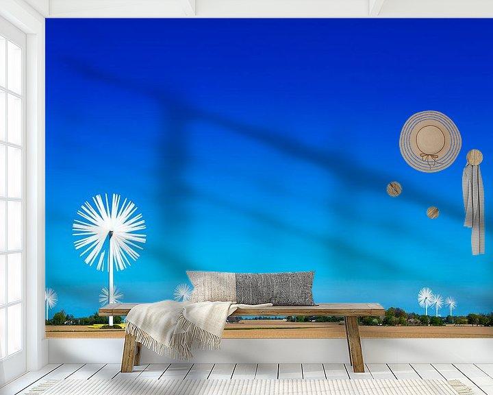 Sfeerimpressie behang: Veld met windmolens als bloemen van Maerten Prins