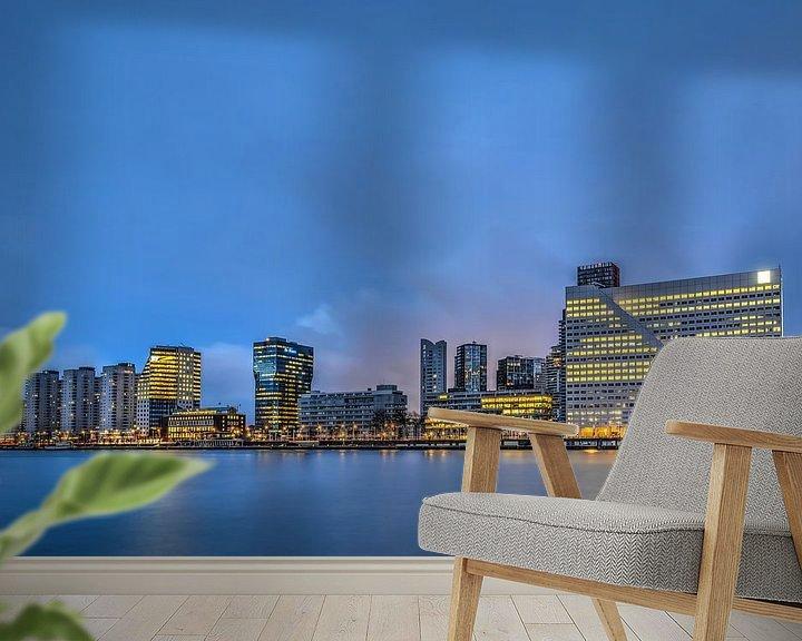 Sfeerimpressie behang: Rotterdam: de Boompjes en de Nieuwe Maas van Frans Blok