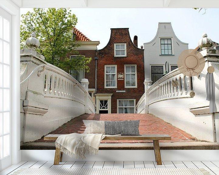 Sfeerimpressie behang: Old Dutch street in Delft van Fleur Halkema