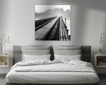 Moerputten Brücke in Schwarz und Weiß von Ruud Peters