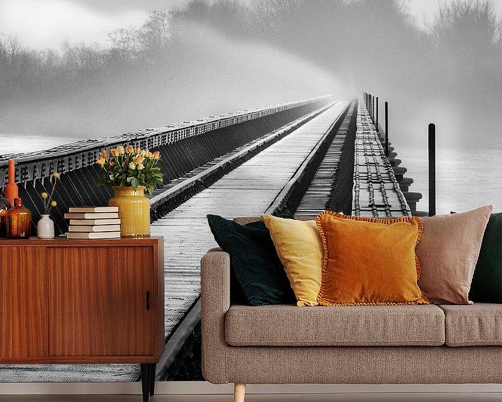 Sfeerimpressie behang: Moerputtenbrug in zwart wit van Ruud Peters