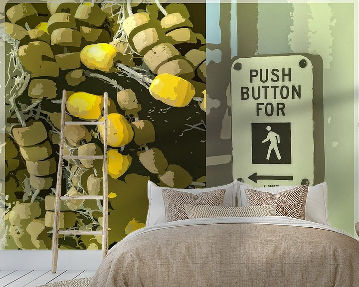 Sfeerimpressie behang: Push Button For van Wilfried van Dokkumburg