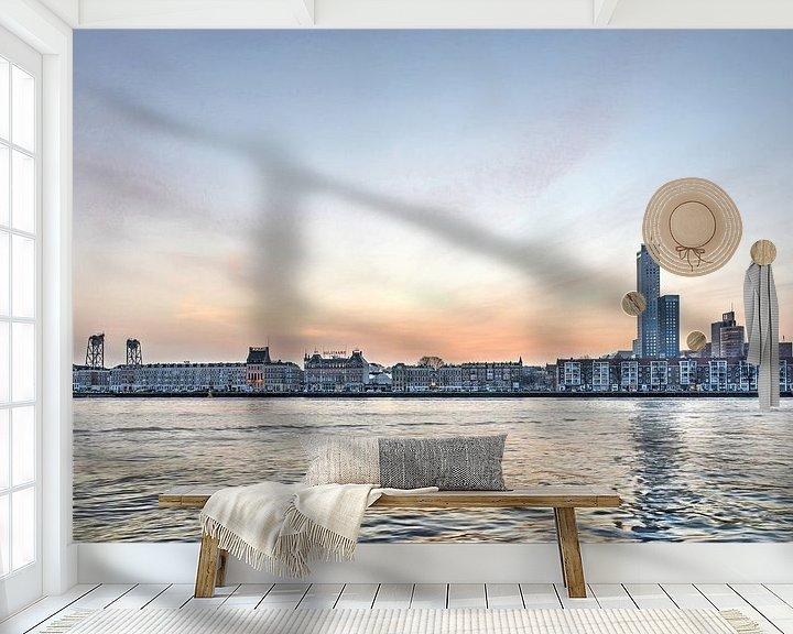 Sfeerimpressie behang: Het Noordereiland en de Nieuwe Maas, 's morgens vroeg van Frans Blok
