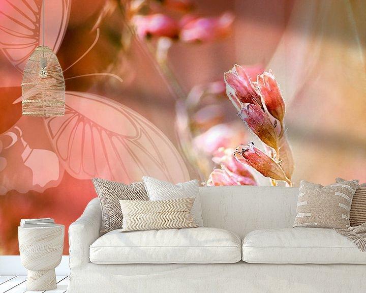 Sfeerimpressie behang: ROSE SPANGLES no5-QF-Butterfly van Pia Schneider
