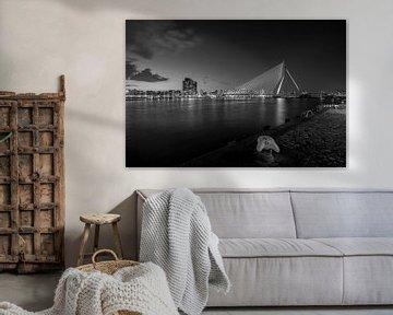 The skyline van Rotterdam met de Erasmusbrug (zwart-wit) bij zonsondergang