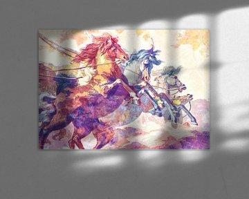 Paarden op hol in pastel- en poederkleuren von Nannie van der Wal