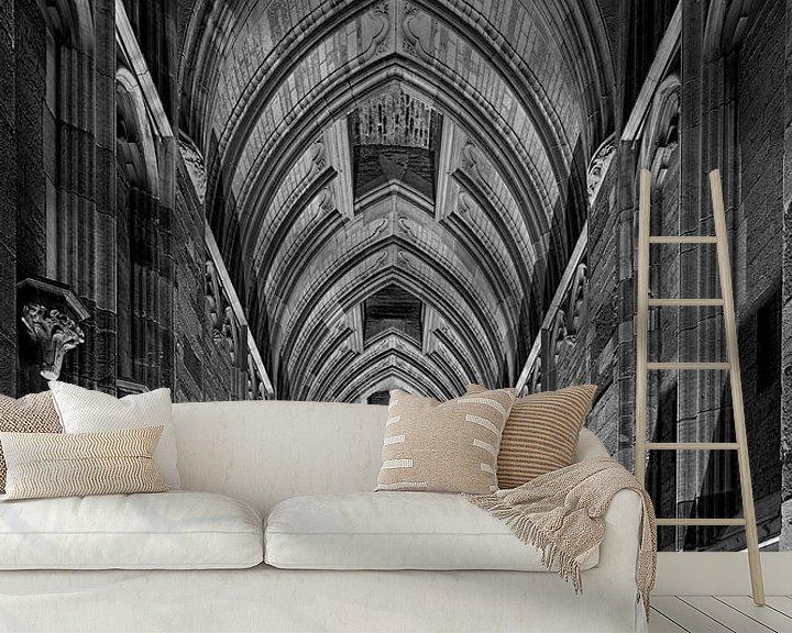 Sfeerimpressie behang: Onderdoorgang Domtoren zwart / wit van Anton de Zeeuw