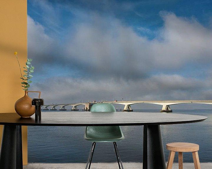 Sfeerimpressie behang: Zeelandbrug op een bewolkte dag  van Bram van Broekhoven