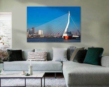 Een vrachtschip en de Erasmusbrug van Rotterdam von Petra Brouwer