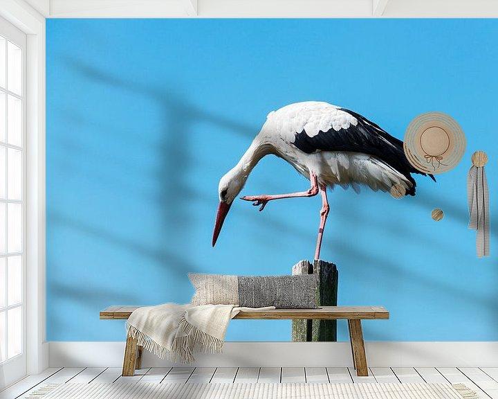 Beispiel fototapete: stork standing on wooden pole   von Compuinfoto .