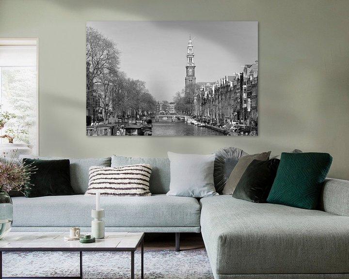 Sfeerimpressie: Prinsengracht en de Westerkerk in Amsterdam van Barbara Brolsma