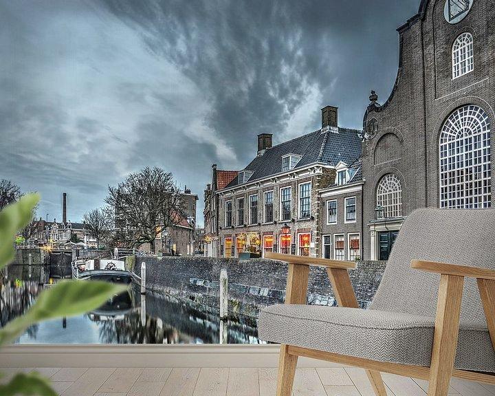 Sfeerimpressie behang: Delfshaven: de kerk en de brouwerij van Frans Blok