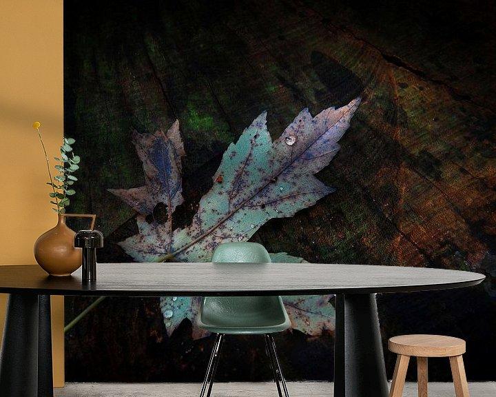 Sfeerimpressie behang: Herfstblad op boomstronk van Ruud Peters