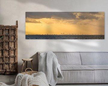 Amsterdam gezien vanaf Almere,panorama