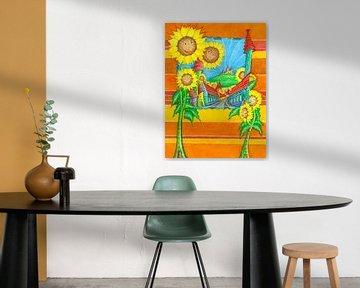 Sonnenblumen Stadt von Atelier BuntePunkt