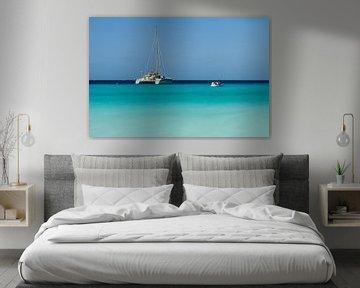 Catamaran bij klein Curacao no. 3 van Arnoud Kunst