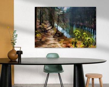 Door het bos, langs het water.  van Robert Wiggers