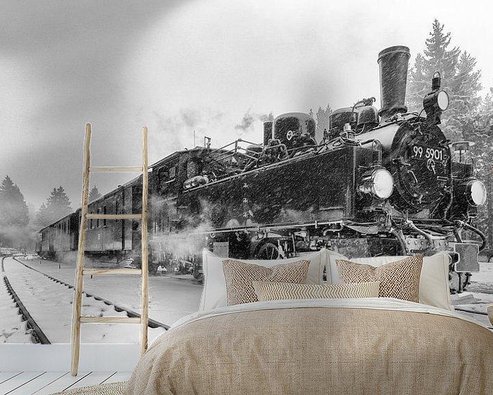 Sfeerimpressie behang: Stoomtreinen in de Harz, tijden van weleer herleven van Hans Brinkel