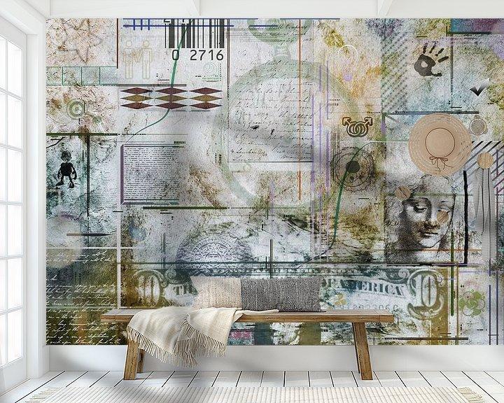 Sfeerimpressie behang: Collage in grijs en bruin van Rietje Bulthuis