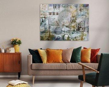 Collage in grijs en bruin van Rietje Bulthuis