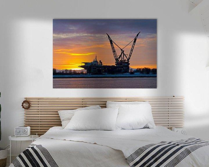 Sfeerimpressie: Thialf na zonsondergang te Rotterdam van Anton de Zeeuw