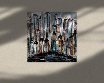 city abstract van Femke van der Tak (fem-paintings)