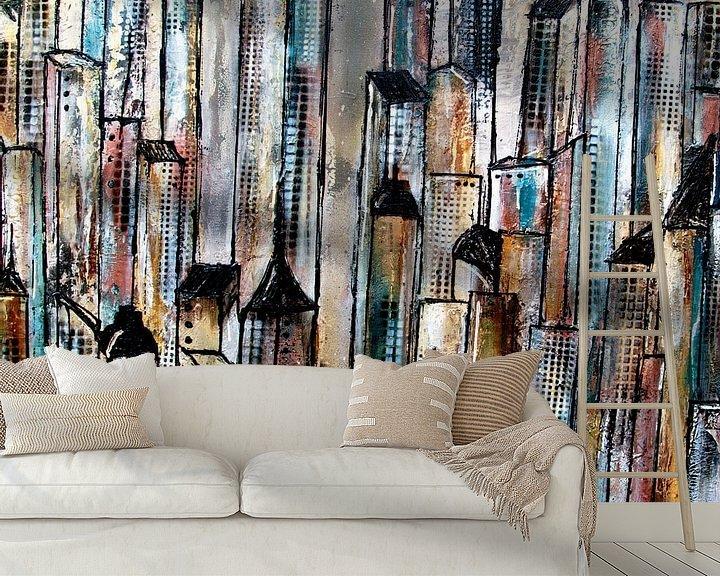 Sfeerimpressie behang: city abstract van Femke van der Tak (fem-paintings)