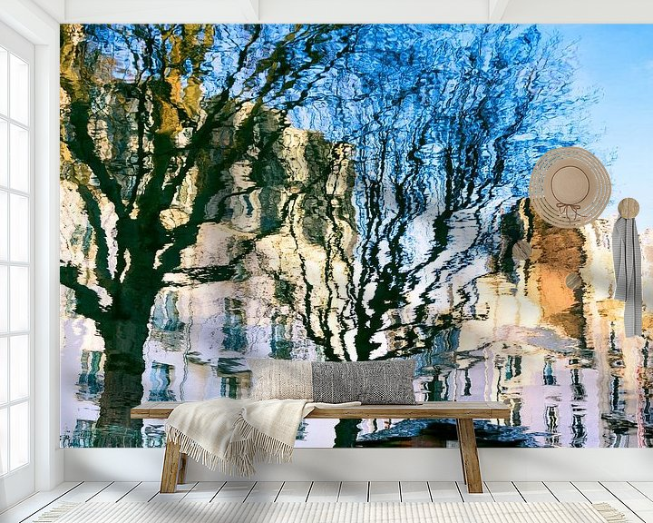 Impression: Houses and trees in the water reflected sur Mark Scheper