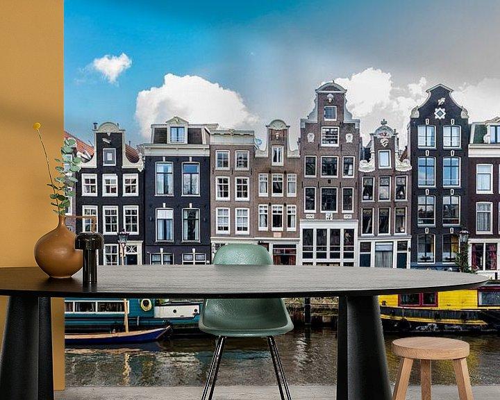 Sfeerimpressie behang: Gevels aan het Singel in Amsterdam. van Don Fonzarelli