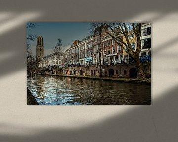De Dom van Utrecht gezien vanaf de werf van de Oudegracht van De Utrechtse Grachten