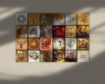 Collage in den Farben von Zeichen und Symbolen von Rietje Bulthuis