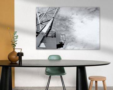 Vintage schwarz und weiß Hafenkran