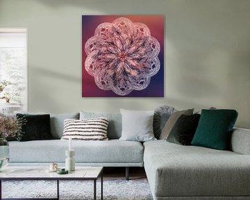 Mandala violet orange sur Rietje Bulthuis