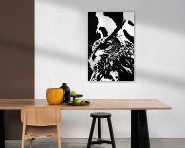 Europäischer Uhu (Bubo bubo) Schwarzweiß-Tuschezeichnung von Fotojeanique .