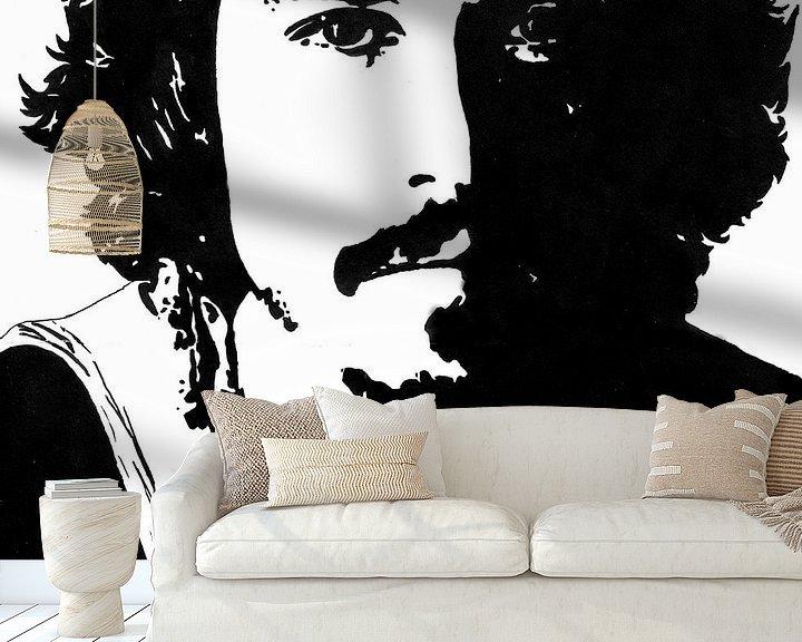 Beispiel fototapete: Johnny Depp Tuschezeichnung schwarz-weiß von Fotojeanique .