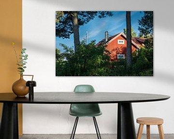 Rotes Holzhaus an der schwedischen Küste von Rico Ködder