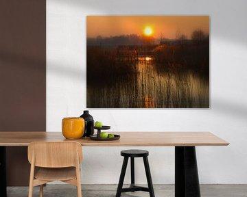 Sunset by water van Harold Wilke
