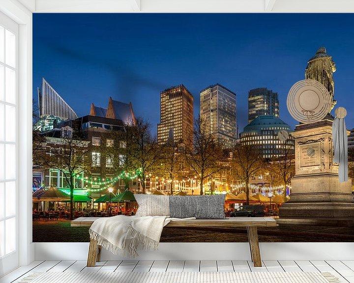 Sfeerimpressie behang: Avondfoto Plein in Den Haag  van Mark De Rooij