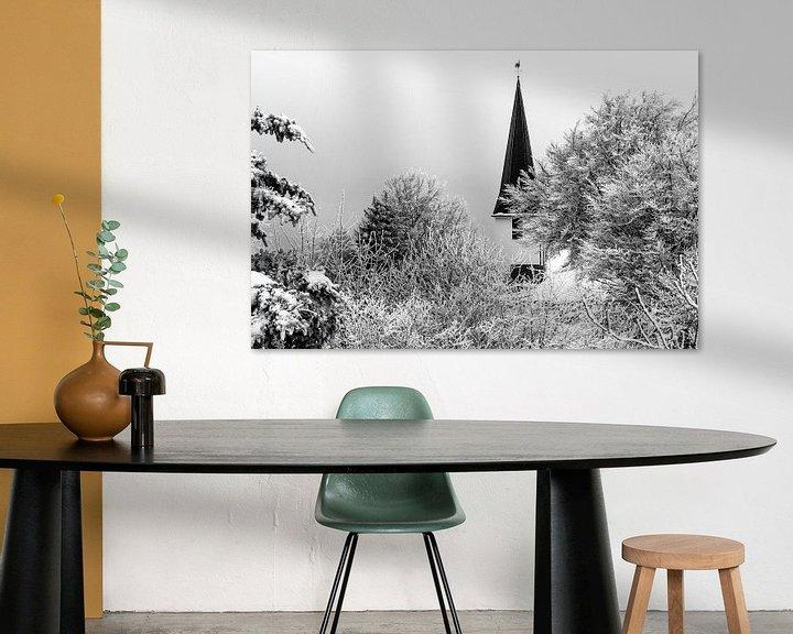 Beispiel: German village church in the snow (black and white) von Remco Bosshard