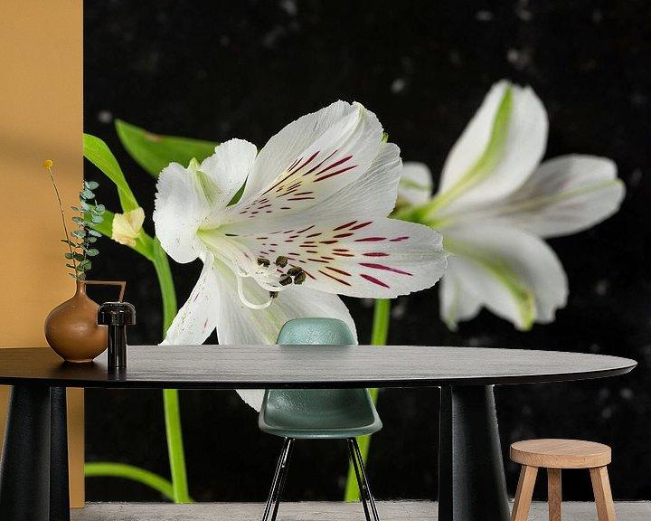 Sfeerimpressie behang: witte alstroemeria  bloemen  van Compuinfoto .