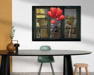 Fensterblick - alte Teddies von Christine Nöhmeier
