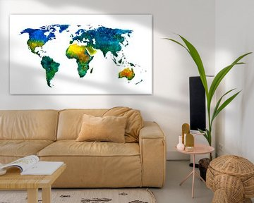 Wereldkaart vol kleur | Schilderij in aquarel