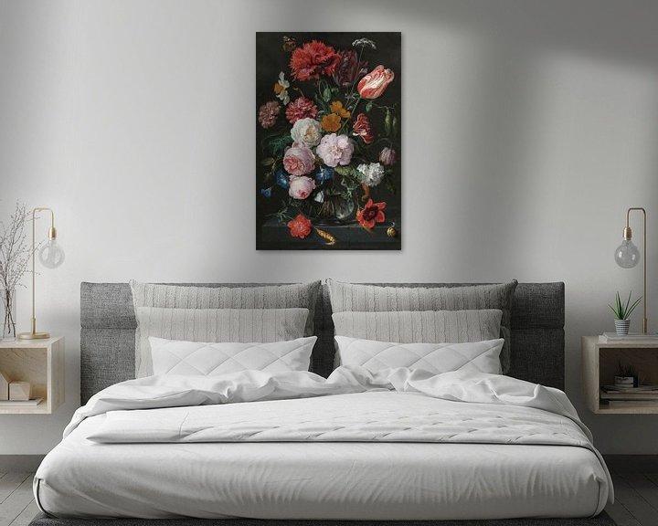 Beispiel: Blumenstrauß in einer Glasvase, Jan Davidsz. de Heem