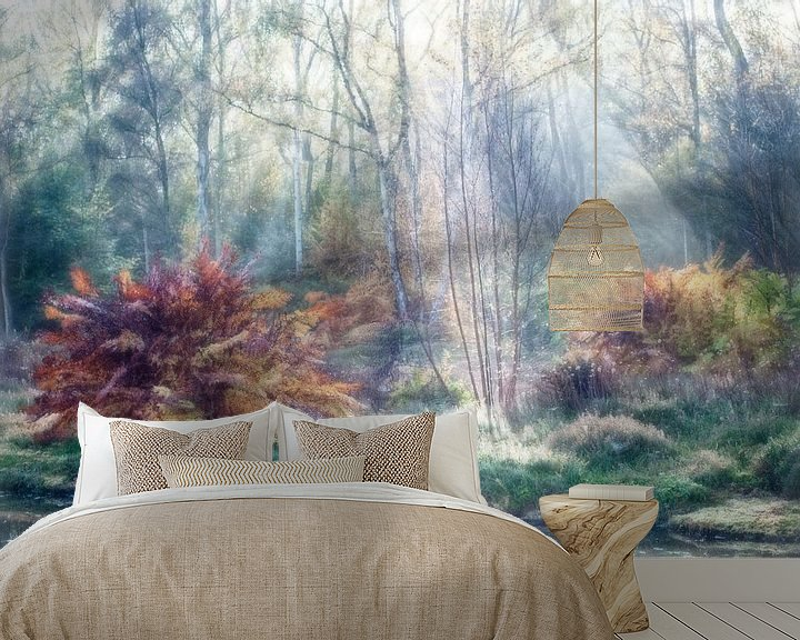 Sfeerimpressie behang: Schilderachtig herfstbos van Marcel van Balken