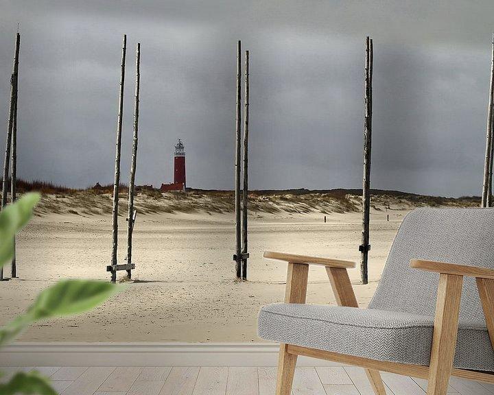 Sfeerimpressie behang: Zicht op de Vuurtoren van Texel. View at the Texel Lighthouse van Justin Sinner Pictures ( Fotograaf op Texel)