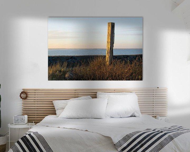 Beispiel: Meerpaal in de haven van Lauwersoog in de avondzon von Tim Groeneveld